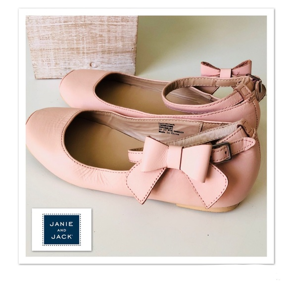 a44a9fb456bef Janie & Jack Blush Pink Leather Ballet Bow Flats